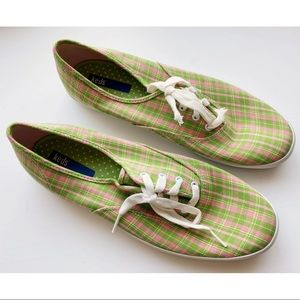Vintage Keds • Pink Green Plaid Fashion Sneakers